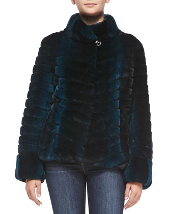 Leather-Sleeve Layered Rabbit-Fur Jacket, Teal