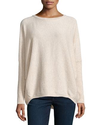 Cashmere Drop-Hem Dolman Sweater, Khaki Melange