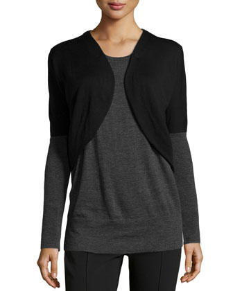 Oversized Colorblock Bolero Sweater, Black/Smoke