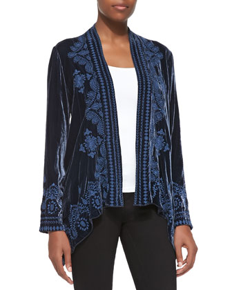 Everly Velvet Draped Cardigan, Women's
