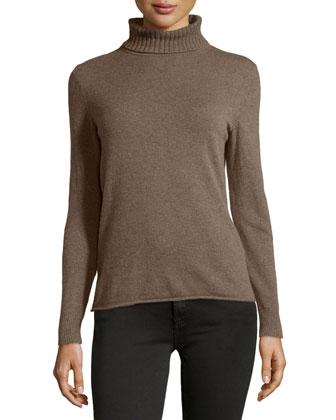 Cashmere Turtleneck Sweater, Porcini Melange