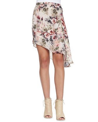 To JJ with Love Printed Button-Down Blouse & Asymmetric-Hem Floral Skirt