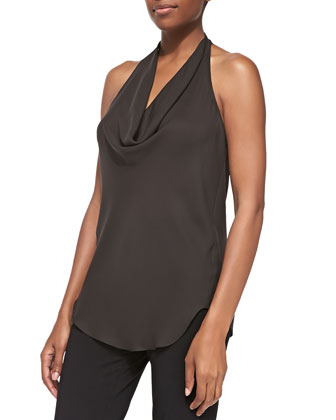 Silk Cowl Halter Tank Top