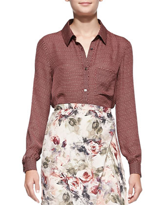 To JJ with Love Printed Button-Down Blouse