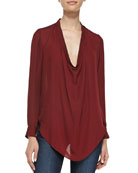 Cowl-Neck Silk Blouse