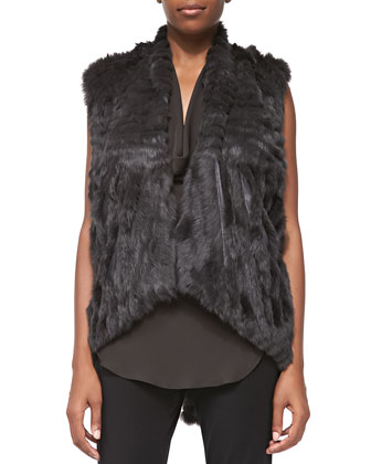 Detachable-Sleeve Rabbit Fur Jacket & Silk Cowl Halter Tank Top