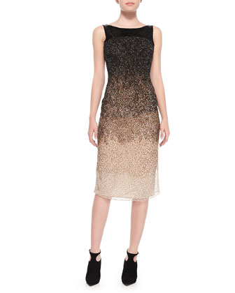 Ombre Sequined Low-Back Midi Dress