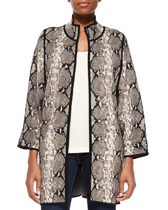 Cashmere Open-Front Snake-Print Jacket