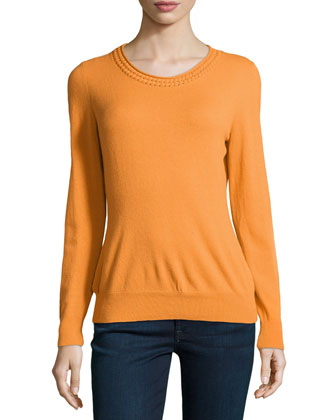 Braided-Trim Sweater, Cayenne
