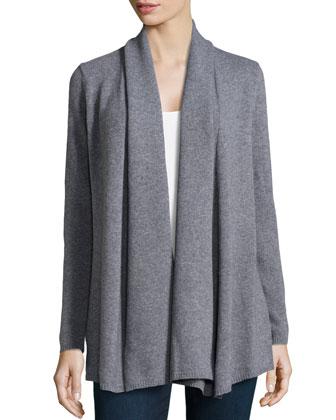 Shawl-Collar Open Long Cardigan, Nickel