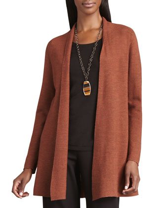 Long Wool Cardigan, Long-Sleeve Tee, Blurred Wrap & Straight-Leg Ponte Pants
