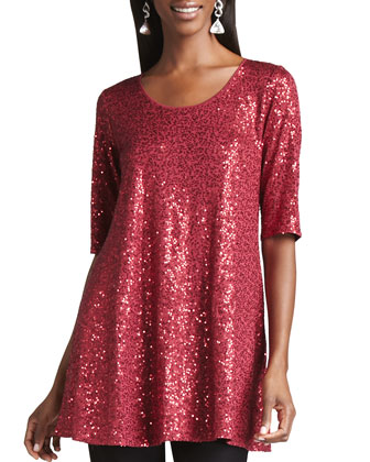 Long Sequined Tunic & Slim Ponte Pants, Women's