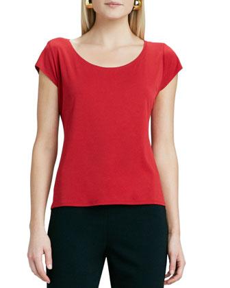 Silk-Jersey Cap-Sleeve Tee, Women's