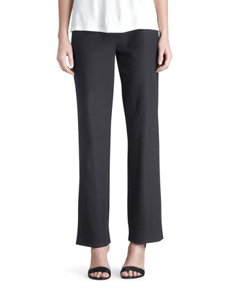 Washable Stretch-Crepe Straight-Leg Pants, Black, Women's