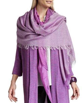 Alpaca Long Cardigan, Straight-Leg Pants, Cross-Dyed Cashmere-Blend Wrap & ...