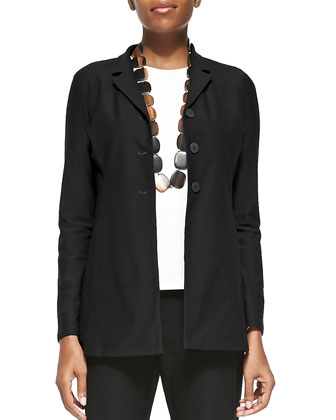 Washable-Crepe Long Jacket, Women's