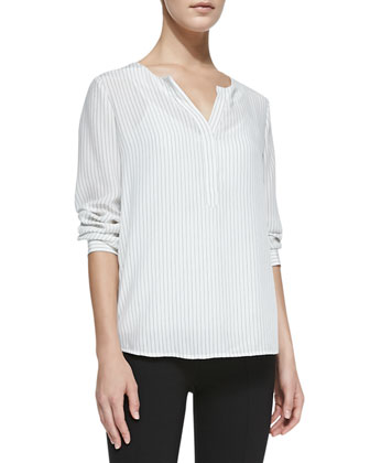 Phillipa Long-Sleeve Pinstripe Blouse