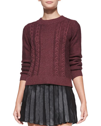 Greer Mixed-Knit Sweater & Morowa Pleated Leather A-Line Skirt