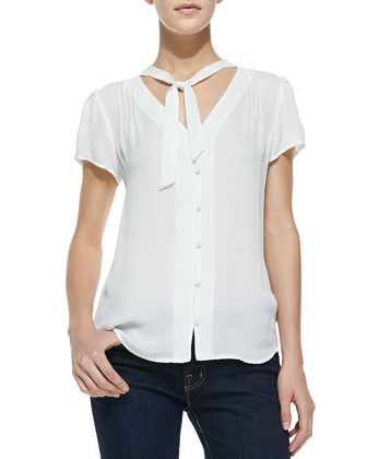 Dayana Short-Sleeve Tie-Neck Blouse