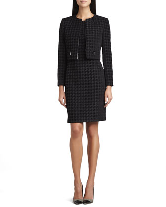 Large Houndstooth Sleeveless Dress & Jacket Set