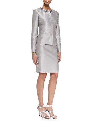 Skirt Suit w/ Embellished Neck