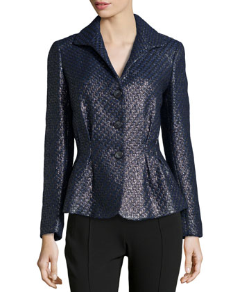 Bianca Metallic Tweed Jacket, Black Metallic