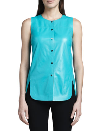 Leather Curved-Hem Top