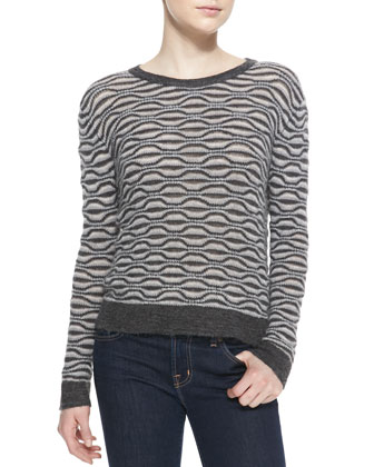 Willow Wavy-Pattern Knit Sweater