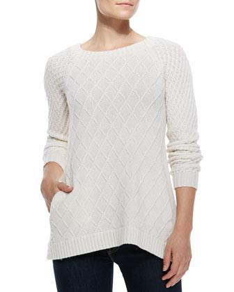 Cate Diamond-Knit Wool-Cashmere Sweater