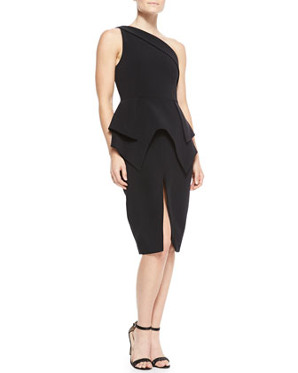 The End One-Shoulder Double-Peplum Dress