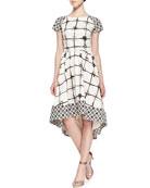 The Croix Short-Sleeve Grid-Print Dress