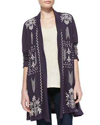 Cynthia Embroidered Duster Cardigan, Cynthia Scoopneck Embroidered Tee & ...