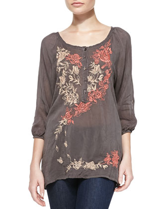 Ombre Rose Embroidered Blouse, Women's