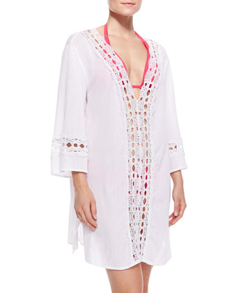 Intuition Crochet-Trim Voile Tunic Coverup
