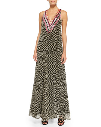 Deep-V Printed Beaded Georgette Gown