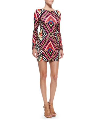 Scoop-Back Printed Jersey Minidress
