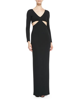 Side-Cutout Jersey Coverup Gown