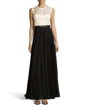 Naya Laser-Cut Leather Gown, Ivory/Black