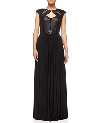 Priya Leather/Jersey Gown, Black