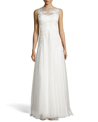Rita Lace Tulle Illusion Gown, White