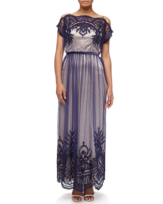 Philippa Swiss Dot Gown, Navy