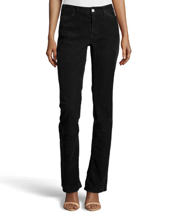 Boot-Cut Corduroy Pants, Black