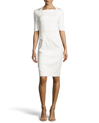 Paula Paneled Knit Sheath Dress, Ivory