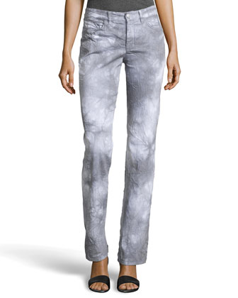 Tie-Dye Straight-Leg Jeans, Pastel Gray