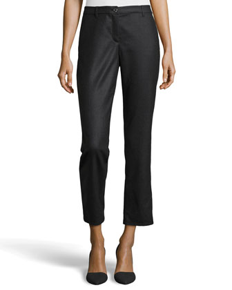Wool Twill Straight-Leg Pants, Charcoal