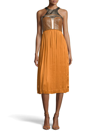 Ryo Leather/Silk Dress, Tan