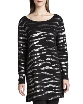 Animal Sequined Tunic & Cropped Stretch-Jersey Leggings