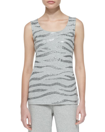 Sequined Cotton Shell, Grey Heather, Petite