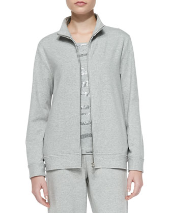 Zip-Front Mock-Neck Jacket, Sequined Cotton Shell & Full-Length Jog Pants