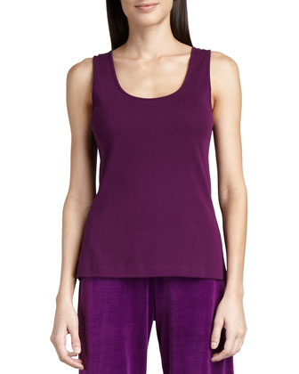 Sleeveless Cotton Scoop-Neck Tank
